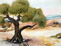 Landschaft, Aquarellmalerei, Baum, Kreta