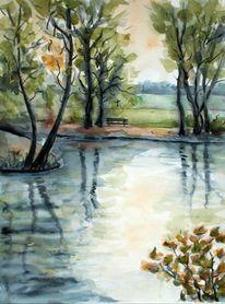Studie, Park, Aquarellmalerei, Aquarell