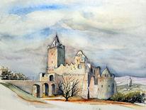 Aquarellmalerei, Architektur, Rudelsburg, Aquarell