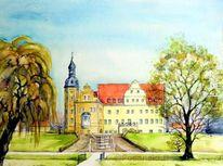 Schloss thalwitz, Aquarellmalerei, Landschaft, Schloss