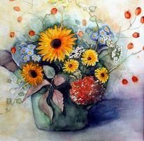 Strauß, Blumen, Aquarellmalerei, Aquarell