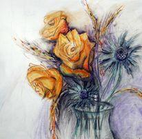 Studie, Rose, Pastellmalerei, Malerei