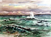 See, Aquarellmalerei, Meer, Sturm