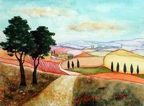 Aquarellmalerei, Toskana, Aquarell,