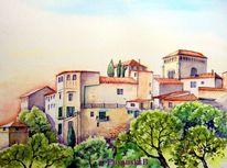 Stadtansicht, Mallorca, Valdemossa, Aquarell
