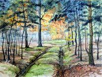 Herbst, Wald, Heide, Aquarellmalerei