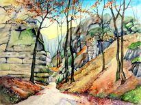 Herbst, Landschaft, Böhmischen, Wanderweg
