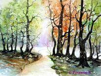 Herbst, Wald, Weg, Baum