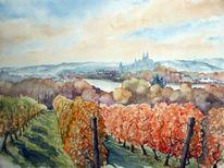 Aquarellmalerei, Albrechtsburg, Landschaft, Elbe