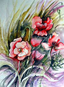 Mohn, Klatschmohn, Blumen, Aquarell