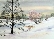Winter, Autobahnsee, Winterlandschaft, Aquarell