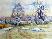 Winter, Aquarellmalerei, Winterlandschaft, Aue