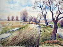 Winter, Wolfshain, Aquarellmalerei, Winterlandschaft