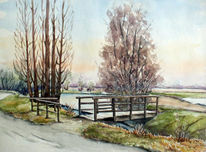 Winter, Brücke, Aquarellmalerei, Winterlandschaft