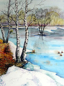 Moor, Tauwetter, Winter, Aquarell