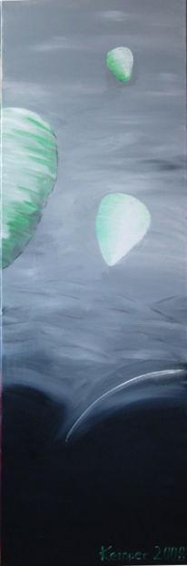 Grau, Ballon, Grün, Nacht