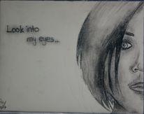 Zeichnung, Kohlezeichnung, Gesicht, Portrait