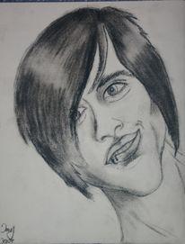 Gesicht, Zeichnung, Kohlezeichnung, Buskohl