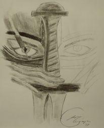 Zeichnung, Narbe, Kohlezeichnung, Schwert