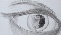 Augen, Spiegel, Trauer, Kohlezeichnung