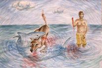 Hund, Hai, Malerei, Tiere