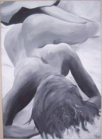 Frau, Liegend, Malerei, Menschen