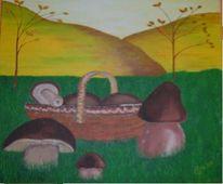 Malerei, Stillleben, Pilze
