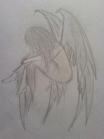 Fantasie, Trauer, Engel, Mädchen