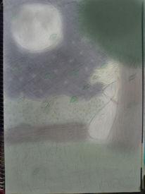 Mond, Wald, Fantasie, Mädchen