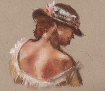 Frau, Braun, Pastellmalerei, Packpapier