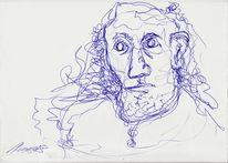 Kugelschreiber, Zeichnungen, Surreal, Frei