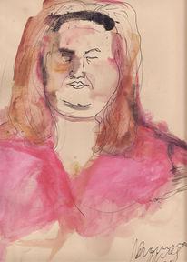 Frau, Dick, Malerei, Menschen