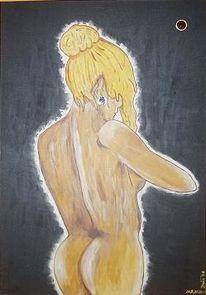 Mädchen, Spiegel, Blond, Akt