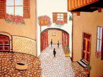 Terrakotta, Blumen, Menschen, Balkon