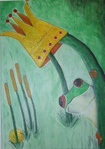 Frosch, Wiese, Blätter, Krone