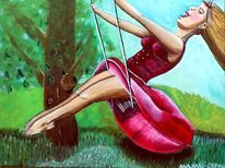 Frau, Baum, Wiese, Rot