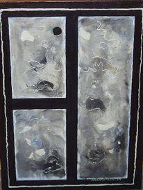 Malerei, Spiegel, Abstrakt, Silber