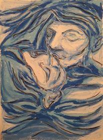 Kuss, Pastellmalerei, Küssende, Zeichnungen