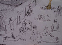 Schwarzweiß, Finelinerbilder, Zeichnungen, Revolution