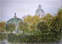 Hofgarten, Herbst, München, Aquarellmalerei