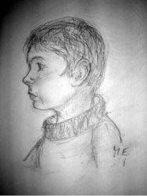 Portrait, Bleistiftzeichnung, Kind, Zeichnung