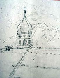 Unterammergau, Kirchturm, Urlaub, Zeichnung