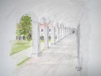 Kloster, Benediktbeuren, Aquarellmalerei, Kreuzgang