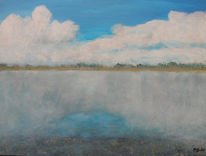 Acrylmalerei, Lech, Landschaft, Malerei