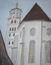 Aquarellmalerei, Augsburg, Moritzkirche, Kirche