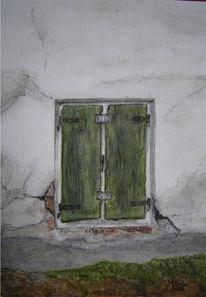 Oberammergau, Fenster, Haus, Aquarell