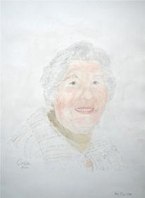 Aquarellmalerei, Oma, Portrait, Aquarell