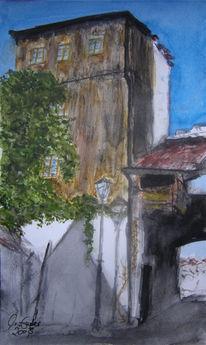 Stadttor, Füssen, Turm, Aquarellmalerei