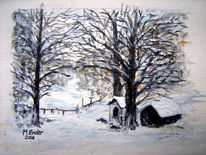 Kapelle, Winter, Pürschling, Aquarellmalerei