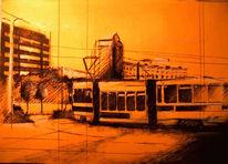 Stadtansicht, Straßenbahn, Cottbus, Malerei
